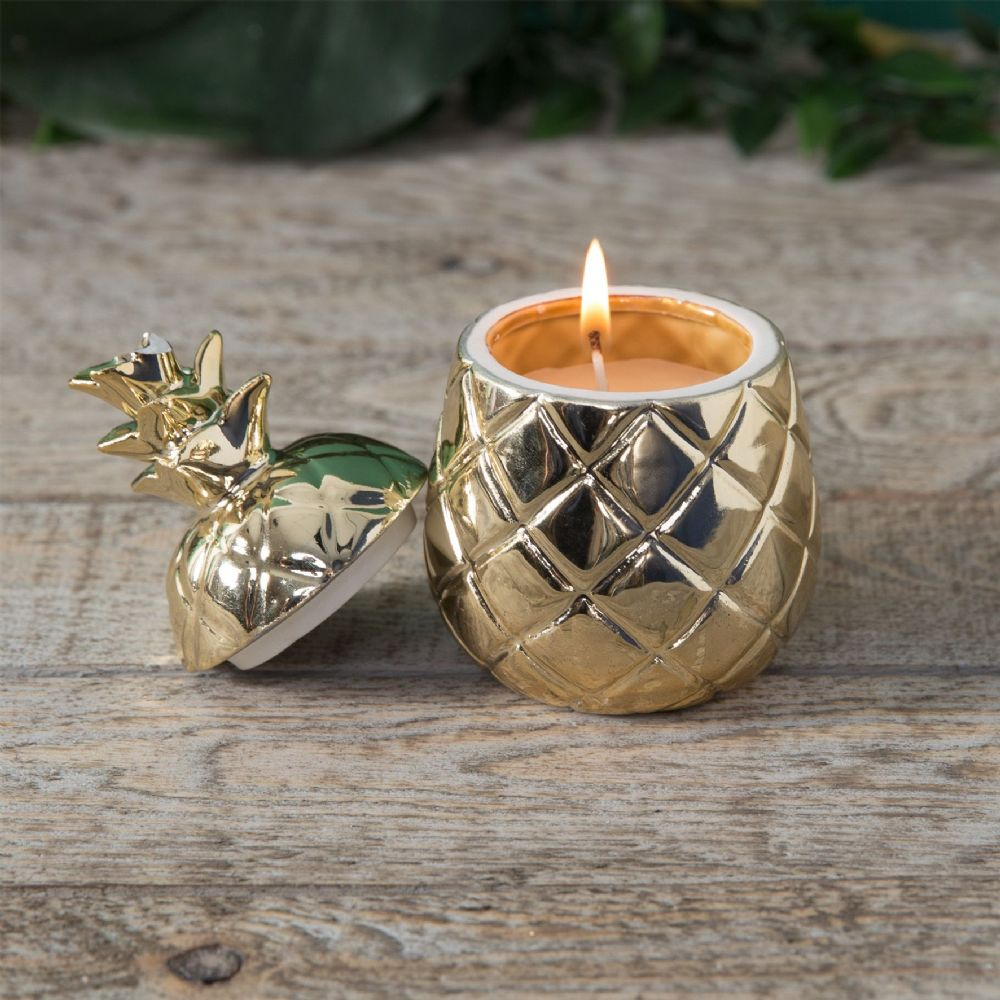 Gold Pineapple Candle Ornament - Decorative Pineapple Home Accessories